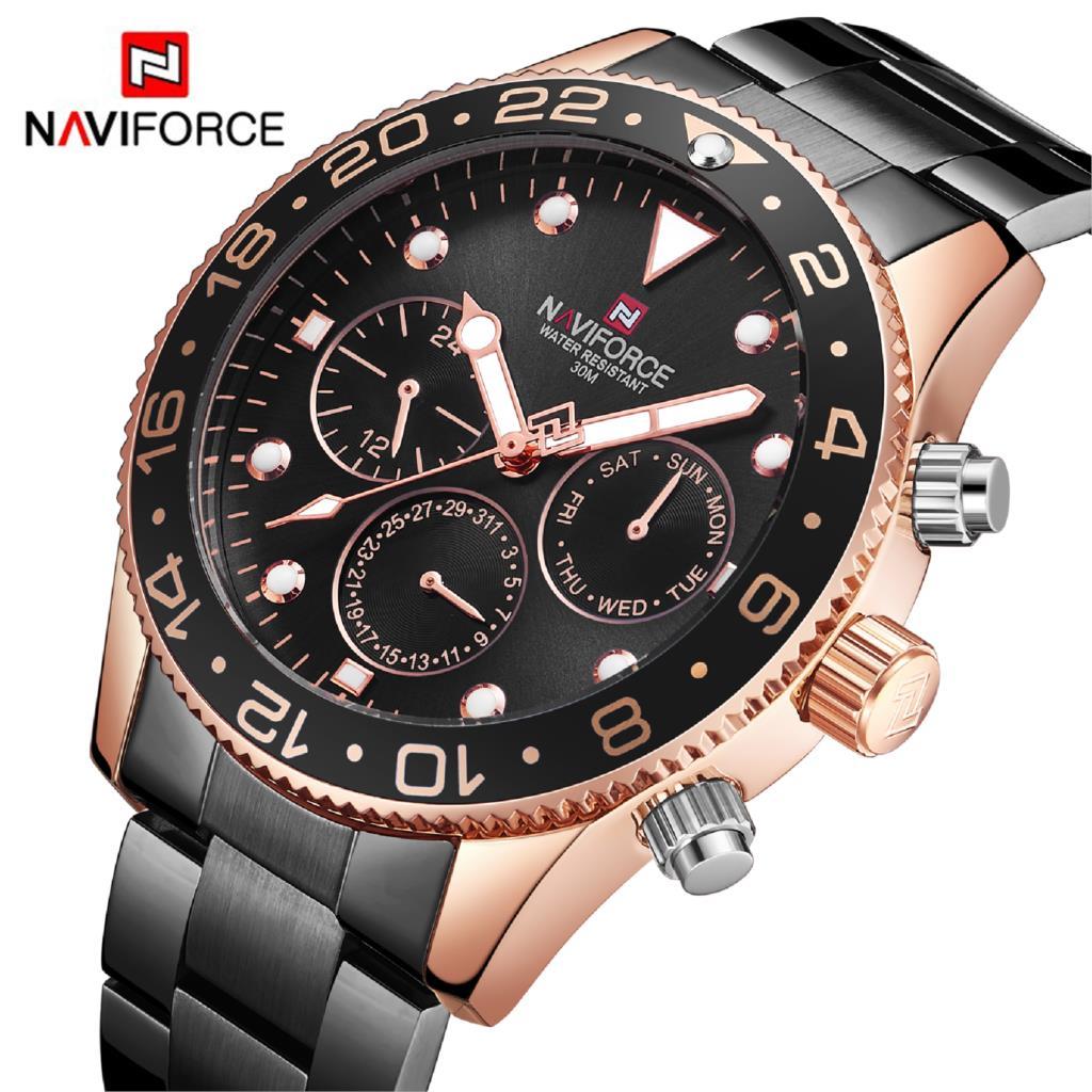 NAVIFORCE Hommes Montre À Quartz Analogique De Luxe Mode Sport 30 m Montre-Bracelet Étanche En Acier Mâle Montre Horloge Relogio Masculino Noir