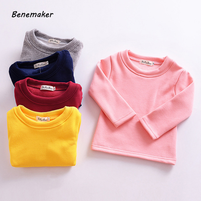 Benemaker Solid Fleece Tops Tees For Girls Boys Autumn Long Sleeves Warm Children's Pullover Clothing Baby Kids T-shirts YS007