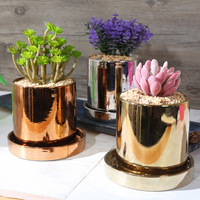 1pc Plating Ceramic Flower Pot With Stand Modern Vase Luxury Plant Pot For Office Home Decoration