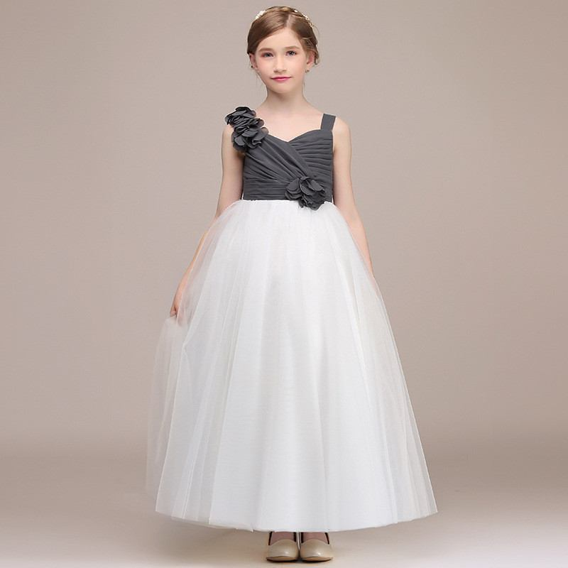 2019 Kids Girl Tulle Flower Ball Gown Teen Girls Elegant Princess Birthday Party Wedding Dress Children Formal Prom Vestido Q4072019 Kids Girl Tulle Flower Ball Gown Teen Girls Elegant Princess Birthday Party Wedding Dress Children Formal Prom Vestido Q407
