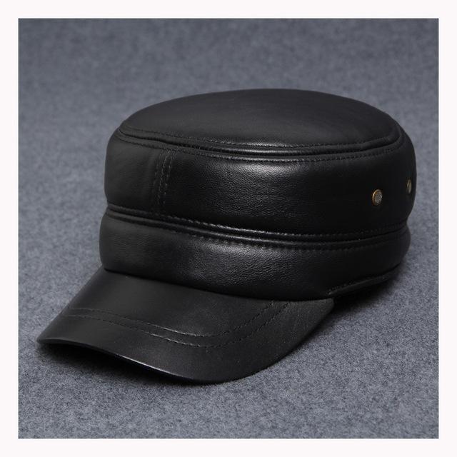 Genuína cap chapéu de couro de pele de Carneiro do inverno Dos Homens casuais costura boné com abas de orelha quente chapéus B-0567 de Meia Idade