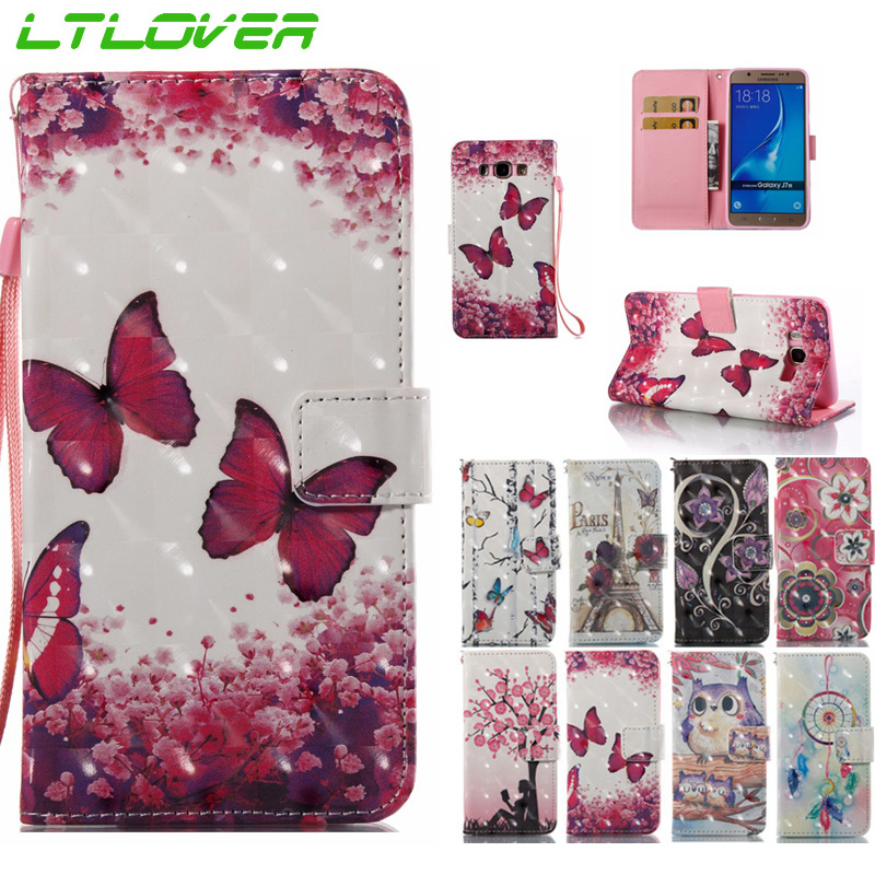 For J330 cartoon owl butterfly tower pattern 3D flip phone case For Samsung Galaxy J3 J5 J7 A3 A5 2016 2017 wallet stand cover