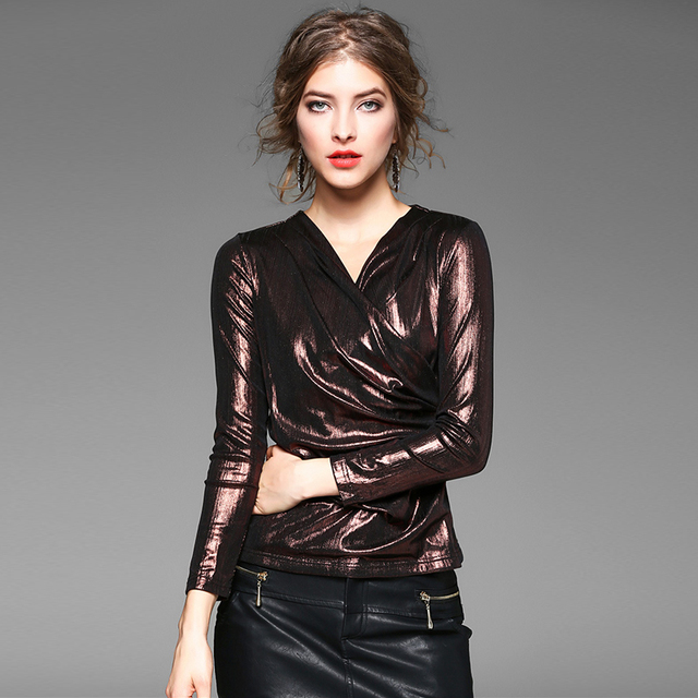 Metallic Color Blouse Women Basic Clothing Criss Cross Design V Neck