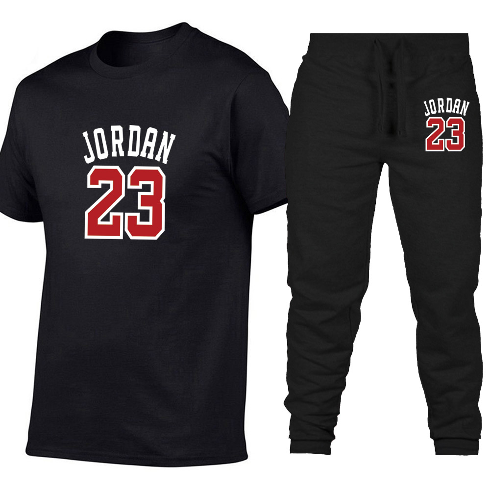 2019 Summer Hot Sale Men's Sets   T     Shirts  +pants Two Pieces Sets Casual Tracksuit Male Casual Tshirt Print Jordan 23 trousers men