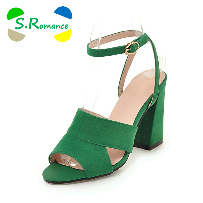 S. الرومانسية النساء الصنادل زائد حجم 34 43 جديد أزياء مربع عالية الكعب مكتب سيدة مضخات امرأة أحذية أسود أخضر الأصفر SS756-في كعب عالي من أحذية على  مجموعة 1