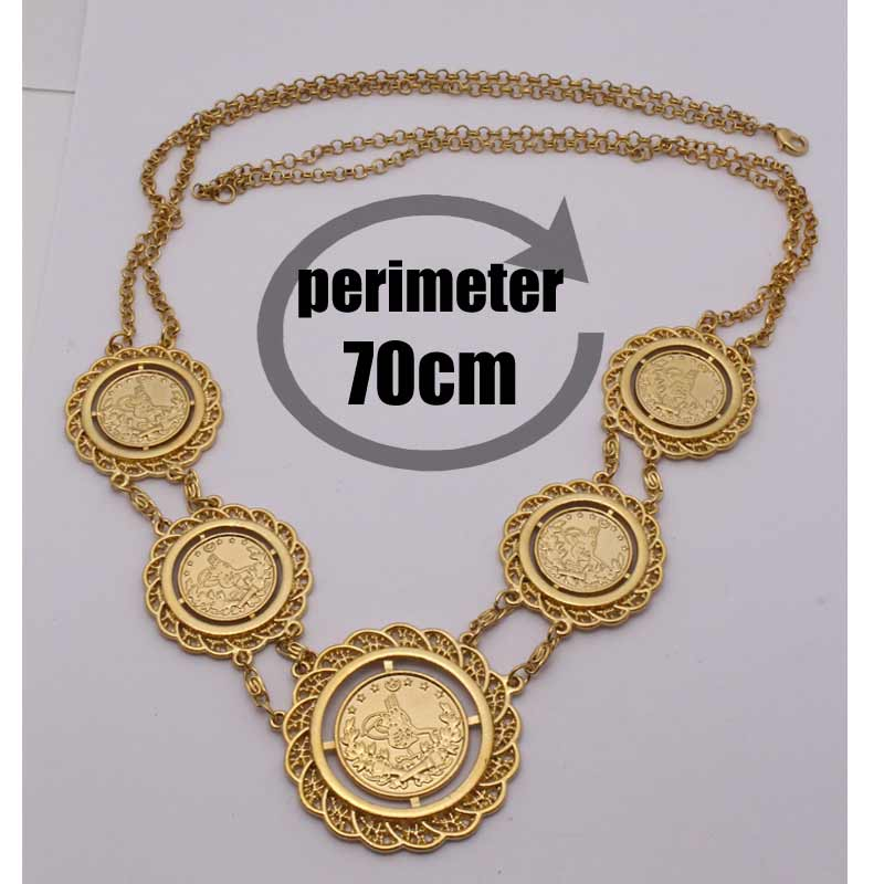 zkd    islam muslim 70CM Turkey Coins Arab Coins  necklace    Turks Africa Party jewerly