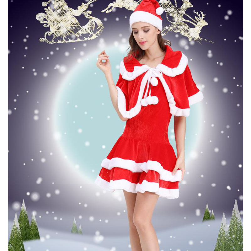 High-Grade Christmas Costumes Santa Claus Girls Clothing Adult Dress Female Costumes Clothing With Hat Cloak Skirt Soft Pleuche