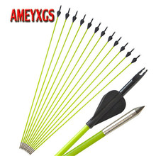 9/12pcs 31.5 Archery Spine 600 Fiberglass Arrow Rubber Feathers  For 10-30lbs Recurve/Straight Bow Hunting Shooting Accessories
