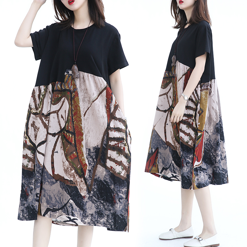 Summer cotton dress female hit color stitching loose short-sleeved long dress
