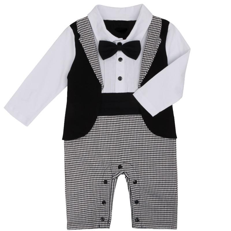 0b8b11c459db Winter Black White baby boy romper long sleeve Gentleman Overalls ...
