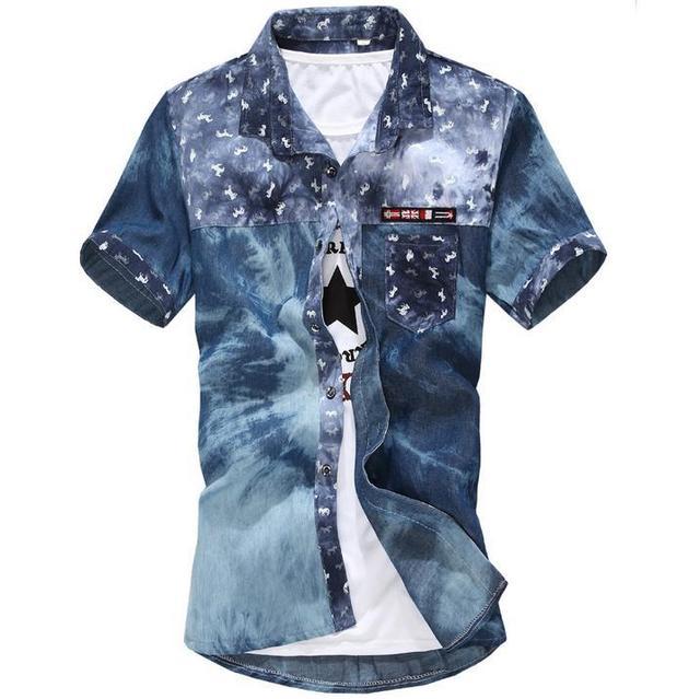 92e8f7eb0 Mens shirts fashion 2016 summer style short sleeve denim shirts ...