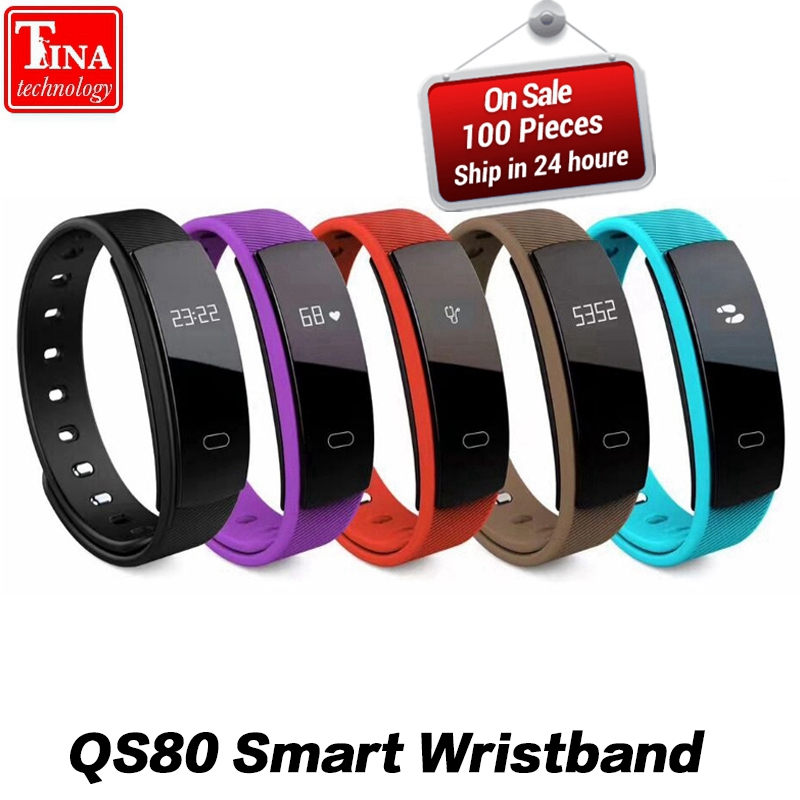 Original QS80 Bluetooth Smart Band Bracelet Wristband Heart Rate and Blood Pressure Sleep Monitoring for IOS Android Smartphone