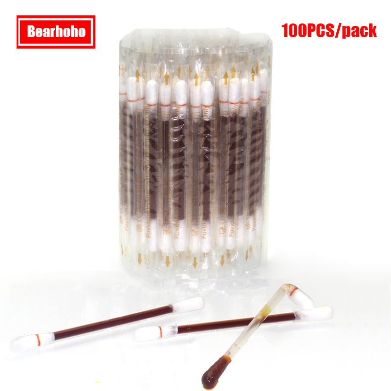 100PCs/ Pack Sterile Cotton Swab Disposable Medical Povidone Iodine Cotton Stick Antibacterial Disinfected Wound Dressing vapjoy jellyfish wicking cotton pack
