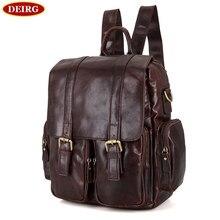 Vintage Genuine Leather Brown Men Backpack Schoolbag Mochila Shoulder Bag With Laptop Compartment PR097123