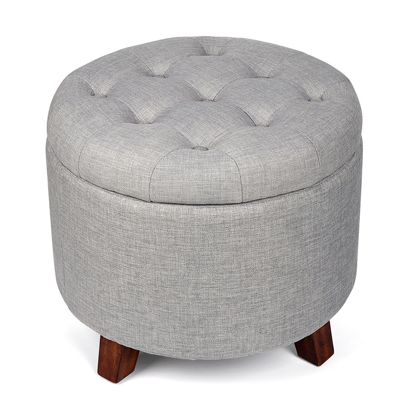 Round Soft Footstool Storage Ottoman Stool With Button