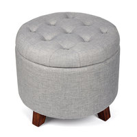 Round Soft Footstool Storage Ottoman Stool With Button Tufted Top Wooden Feet Perfect For Home Storage
