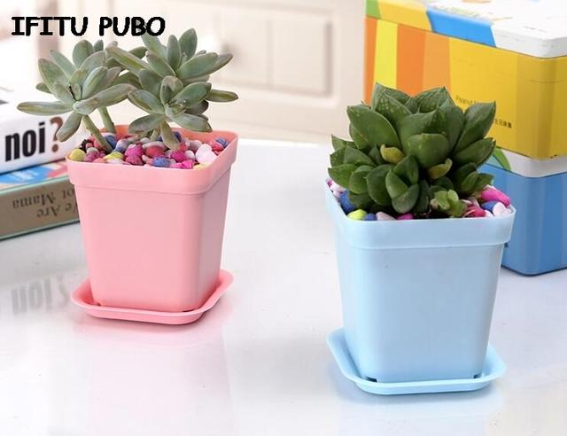 New 10pcs/pack FlowerPot Square Plastic Planter Nursery Garden Desk Home Decor Candy Color 7 Random Colors free shipping GYH