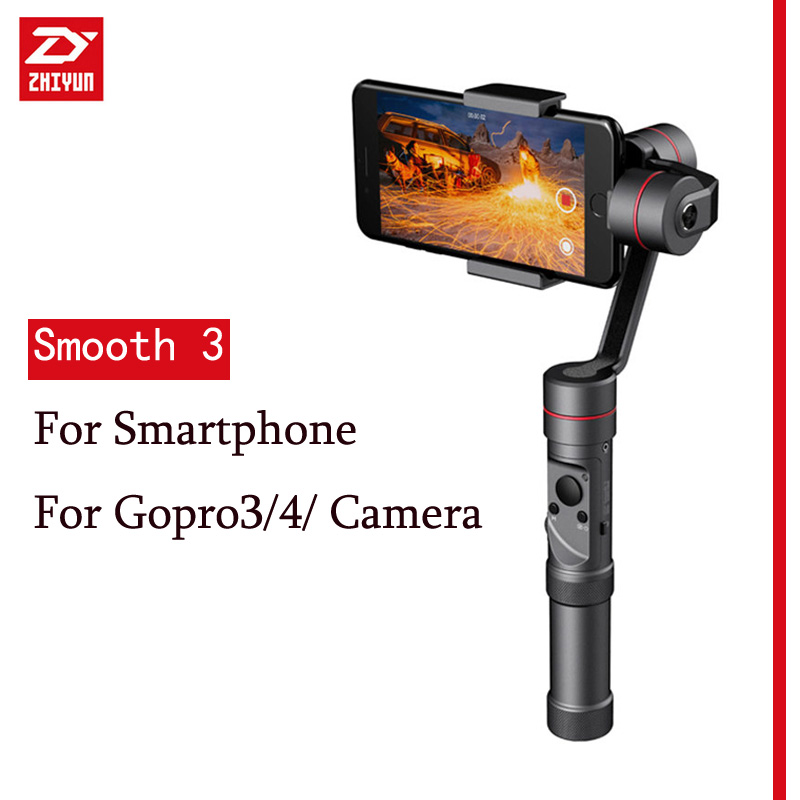 Zhiyun Smooth III Smooth3 3 Axis Handheld Gimbal Stabilizer For GoPro3/4/5 Camera Smartphone Phone For iphone For Samsung z1 smooth ii 3 axis brushless handheld gimbal stabilizer for smartphone handheld within 6 5 screen