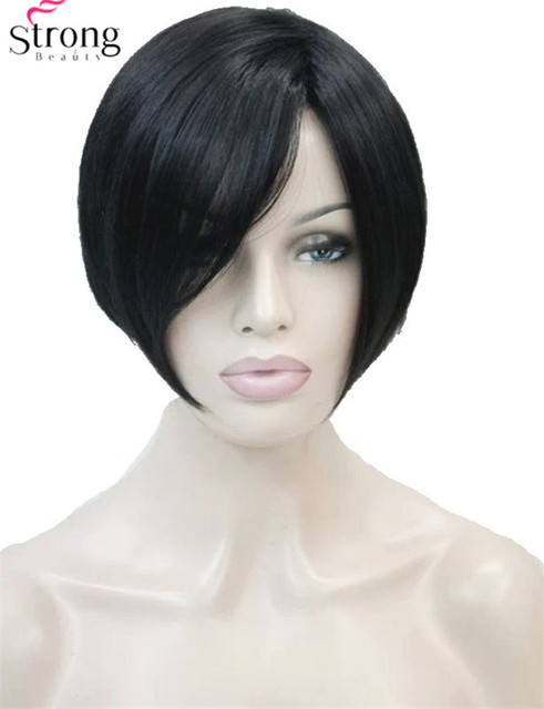 Short Straight Black Side Swept Bangs Full Synthetic Wig Colour