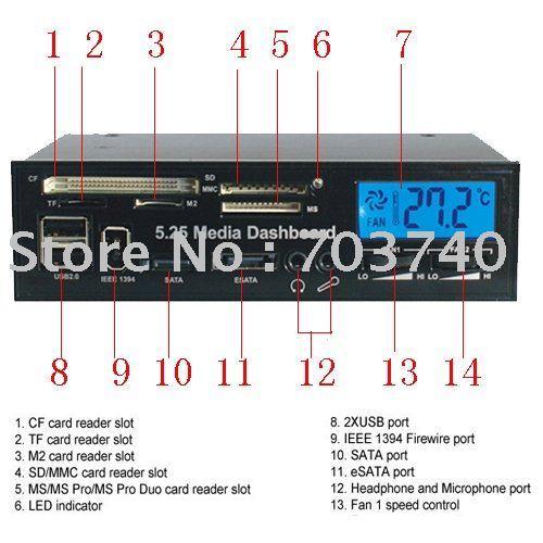"5.25"" Media PC LCD Dashboard internal Card Reader w/ Fan Control and speaker/microphone"