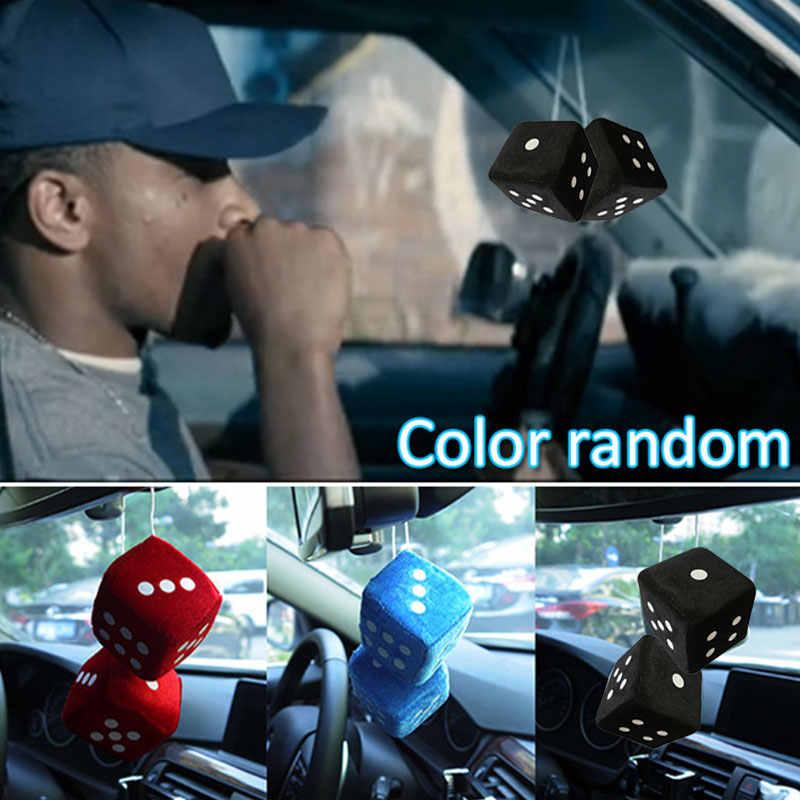 Vehemo espejo retrovisor Auto de felpa dados de peluche accesorios de vehículo para regalo coche de felpa dados colgante de moda decoración de coche colgante