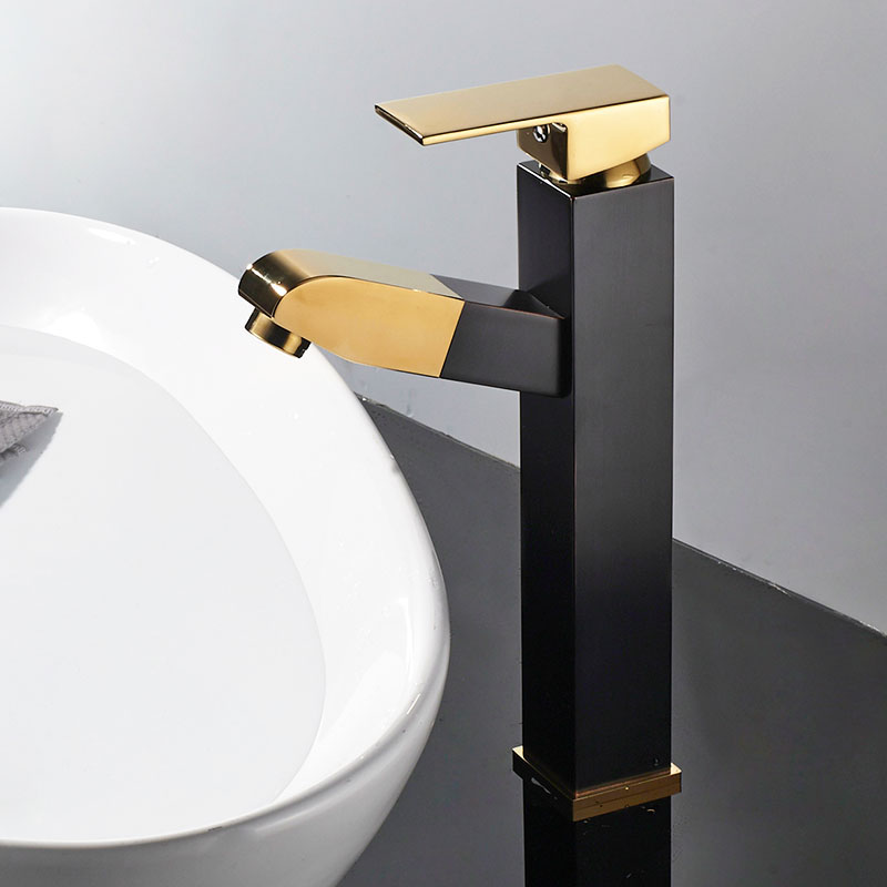ORB Black Golden Square Brass Pull Out Bathroom Faucet Black Sink Basin Mixer Tap Cold Hot Water taps With Hand Spray JK024BG black brass vanity sink pull out faucet basin mixer hot and cold water for bathroom toilet kitchen