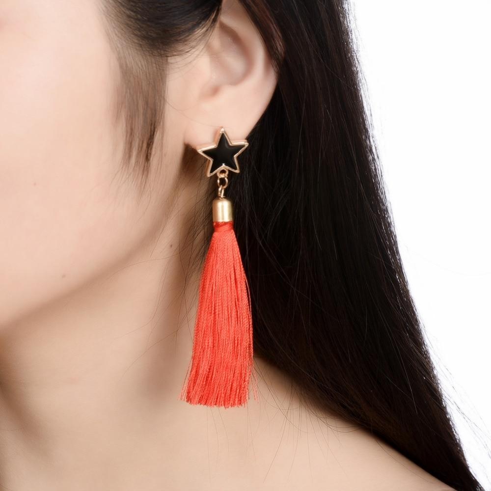 Fringed Five-Pointed Star Korean-Style Nightclub Exaggerated Long Tassel Earrings Women Star Chain Drop Earrings Female