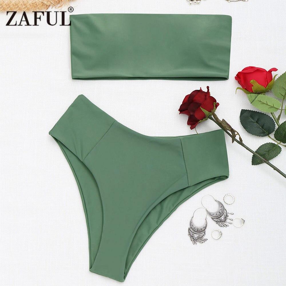 ZAFUL Bikini Swimwear Women Bandeau Collar High Cut Bikini Set Strapless Swimsuit High Leg Bathing Suit Summer Beacher Biquni