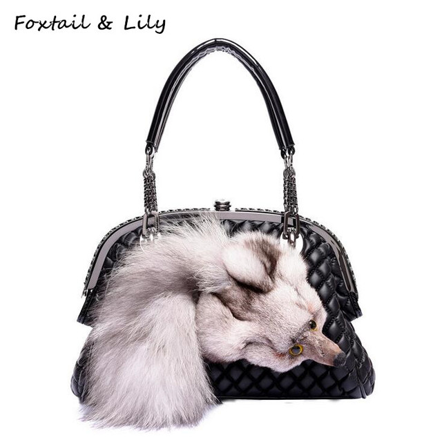 Foxtail & Lily Genuine Fox Fur Bag for Women Quilted Chain Bag Real Leather Sheepskin Shoulder Crossbody Handbags Designer