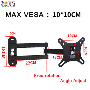 """Image 2 - Full Motion TV Wall Mount Monitor Wall Bracket with Swivel and Articulating Tilt Arm Fits 10 27""""LCD LED Flat Screens up to 22lbs"""