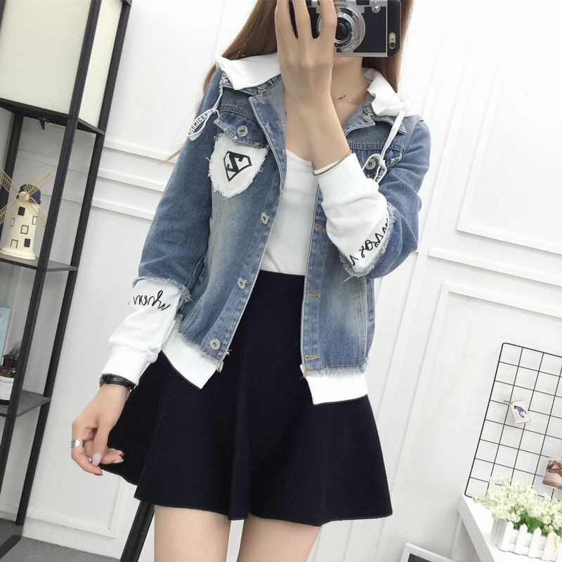 New Autumn Casual Hooded Short Denim Jacket Women Fashion Splicing Patch Coat Plus size Pockets Loose Jackets Jeans Coat Female 37