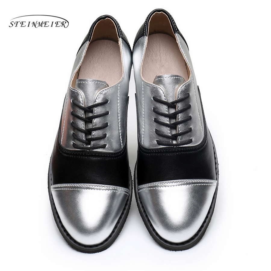 Genuine leather big woman US 11 designer vintage flats shoes round toe handmade silver black 2019 oxford shoes for women fur genuine leather big woman us10 5 designer vintage flats shoes round toe handmade pink 2017 oxford shoes for women with fur