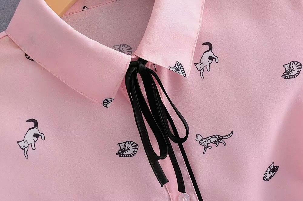 Rosa Impresión Gatos Femininas Mujeres Ls2675 Casual Camiseta Moda Arco Pic Blusas As Lindo Tops Atado 2018 Otoño Dulce Chic q4Xw6BwI