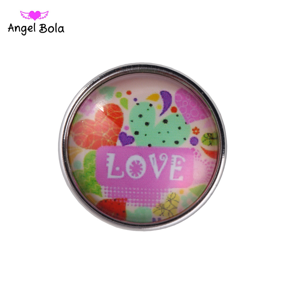 12PCS/LOT Exotic 18mm Love Glass Snap Button Jewelry Faceted Glass Snap Fit Snap Bracelet Ginger Snap Jewelry NS002-86