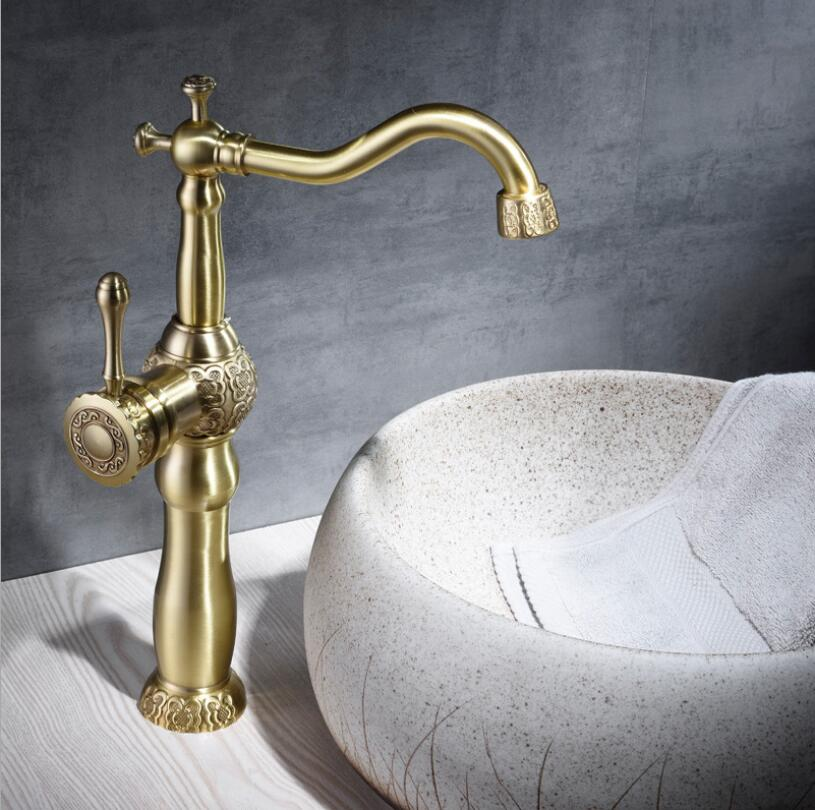 цены на Basin Faucets Antique Brass Bathroom Faucet Basin Carved Tap Rotate Single Handle Hot and Cold Water Mixer Taps Crane в интернет-магазинах