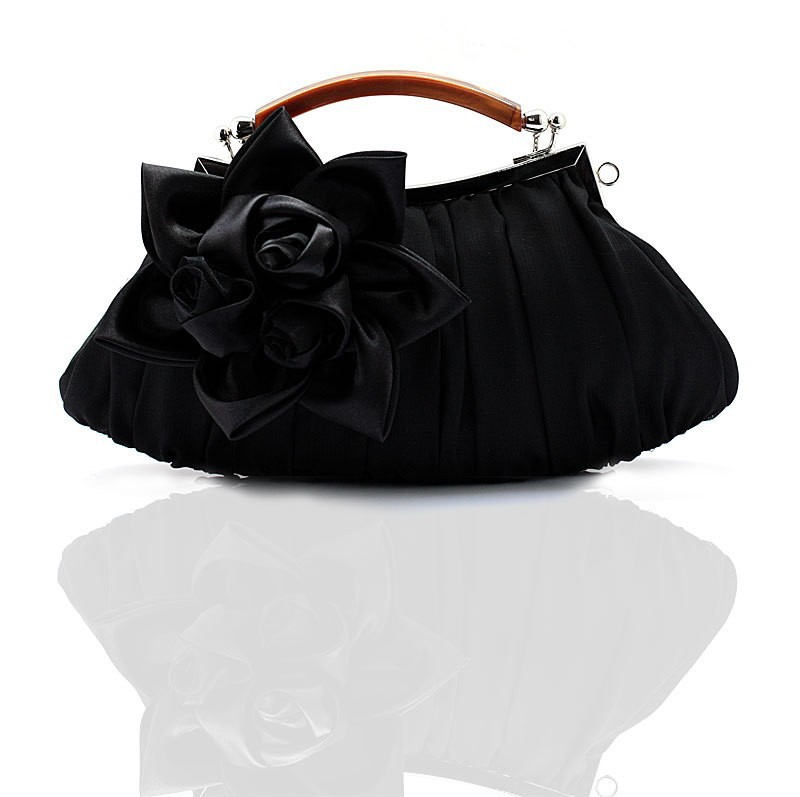 Hot Sale Black Ladies' Satin Handbag Clutch Party Bridal Evening Bag Hand Purse Makeup Bag Free Shipping 0005-D