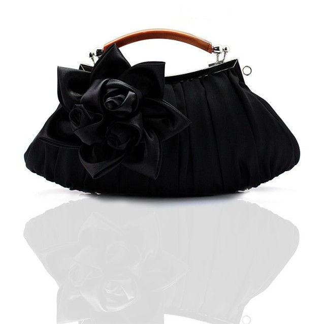 Hot Sale Black Ladiesu0026#39; Satin Handbag Clutch Party Bridal Evening Bag Hand Purse Makeup Bag Free ...