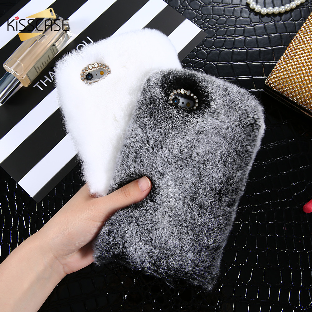 KISSCASE Case For iPhone 6 6s Plus Genuine Rabbit Fluffy
