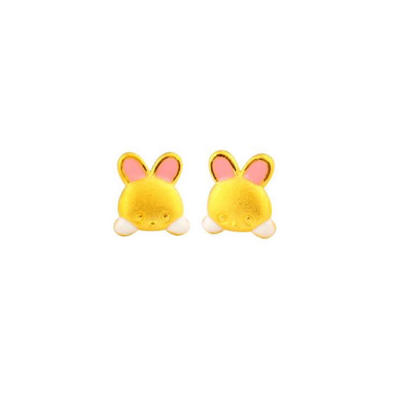 Solid 24K Yellow Gold Earrings 999 Gold Pink Colour Bunny Stud Earrings 2.3gSolid 24K Yellow Gold Earrings 999 Gold Pink Colour Bunny Stud Earrings 2.3g