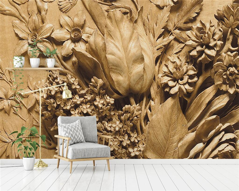 Beibehang Custom Wallpaper 3D Embossed Rose TV Sofa Background Wall Living Room Bedroom Background Walls Murals 3d Wallpaper