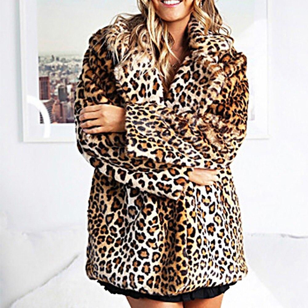 Lujo Estampado Mujer Larga Piel Vuelto Leopardo Cuello Chaqueta Invierno  Ropa Con Show Manga Imitación Nuevo Femenina As Abrigo Para ... 900c8e1aa840