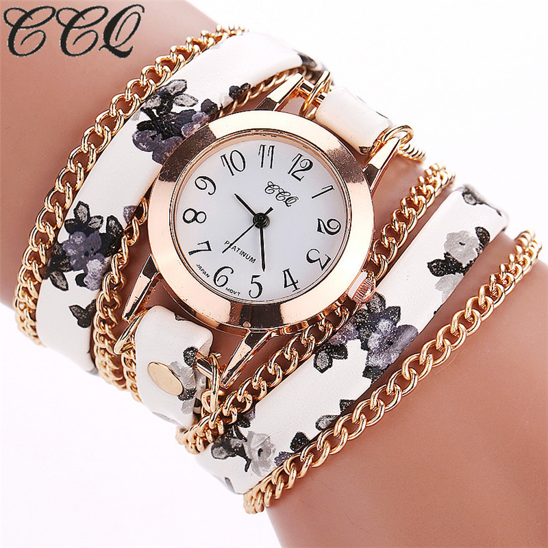 CCQ Flower Leather Bracelet Watches Fashion Women Dress Watches Quartz Watch Relojes Mujer Relogio Feminino Clock 2015 1692 guanqin quartz watches fashion watch women dress relogio feminino waterproof tungsten steel gold bracelet watches relojes mujer