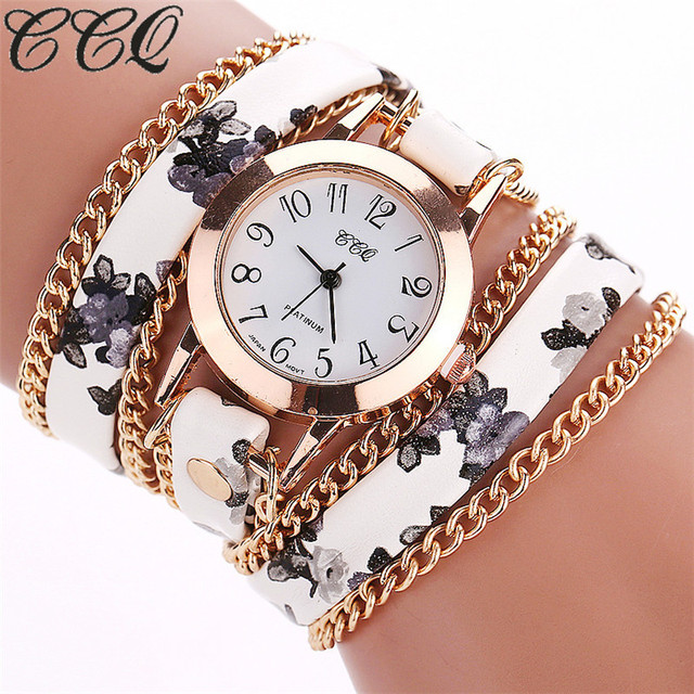 CCQ Flower Leather Bracelet Watches Fashion Women Dress Watches Quartz Watch Rel
