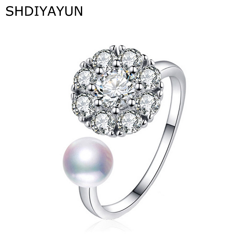 SHDIYAYUN New Fine Hot Pearl Ring Rotate Zircon Natural Freshwater Pearl Jewelry Diamond Spinning 925 Silver Rings For Women