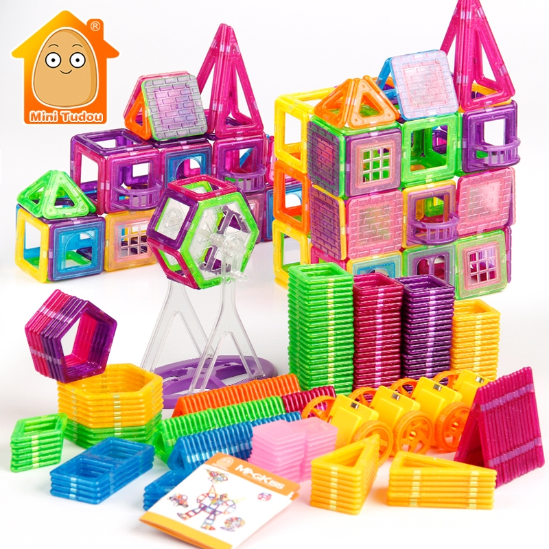 72-240PCS Mini Magnetic Designer Construction Set Model & Building Plastic Magnetic Blocks Educational Toys For Kids Gift ...