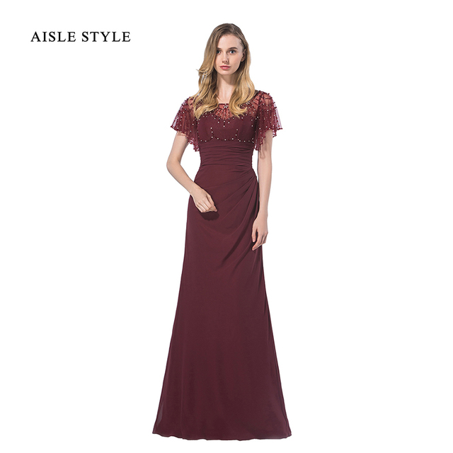 Aisle Style Vintage Gatesby Inspired Luxury Sequin Beaded Top Long Burgundy Modern Bridesmaid Dress With Flutter