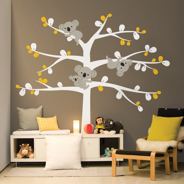 oversize cute koala tree wall decals for nursery custom color
