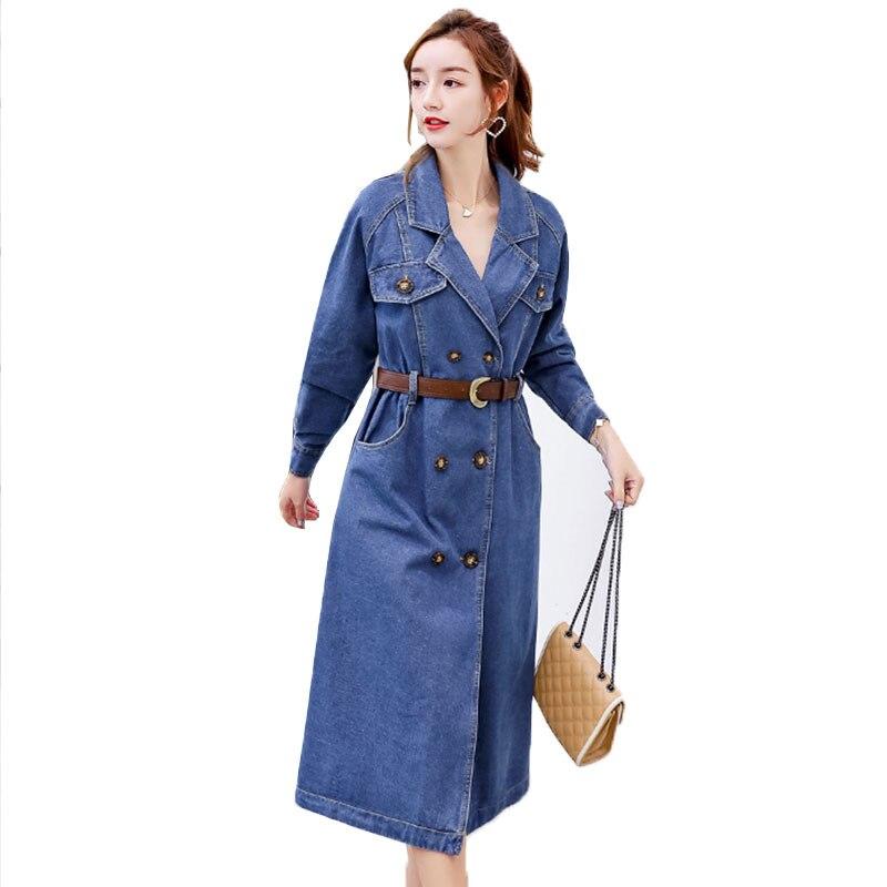 0b4e506514e Printemps Qualité Navy Femelle Jeans 2019 Chemise Robe Haute Bleu 889 Blue  Mince Denim Bouton Robes ...