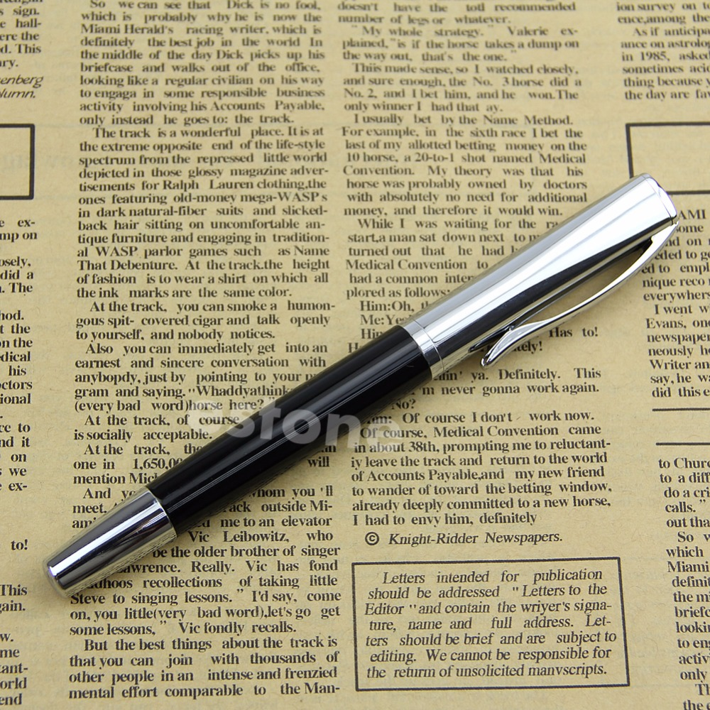 New Baoer 051 Smooth Stainless Black Medium Nib Study Business Fountain Pen classic student baoer ink pen 3035 stainless steel metal silver medium nib fountain pen