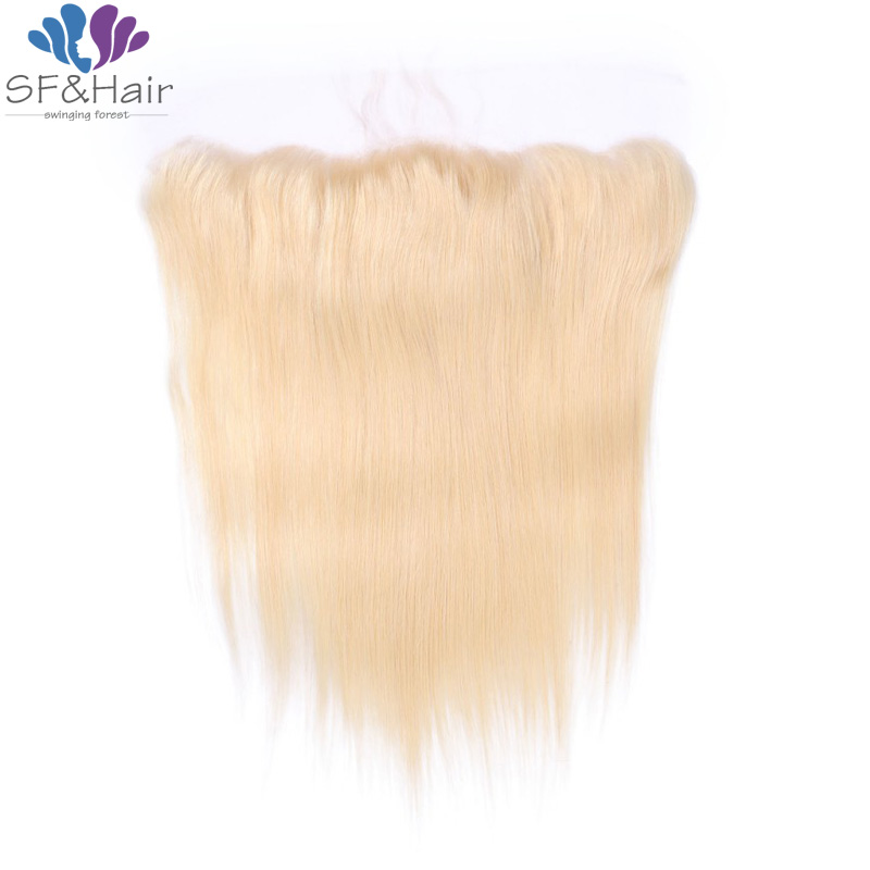 #613 Blonde Frontal Free Part 13x4 Silky Straight Lace Frontal Closure Bleached Knots Good Cheap Human Hair Lace Frontal